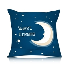Square Pillow Design with Cartoon Sleeping Moon vector