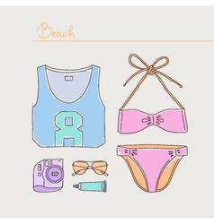 Summer collection of woman bikini clothes vector