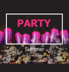 summer party with ultra violet ice creams vector image