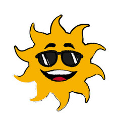 Sun cartoon sunglasses mascot character vector