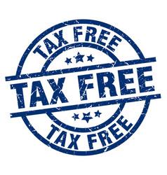 Tax free blue round grunge stamp vector
