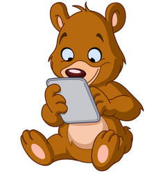 Teddy bear with tablet vector