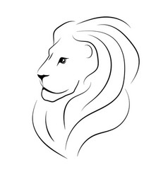 The head of the lion sideways black outline vector