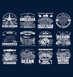 underwater sea and ocean animals icons vector image