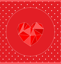 valentines card with triangle heart and white dots vector image