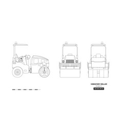Vibratory roller in outline style vector