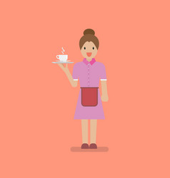 waitress character serve a cup coffee vector image
