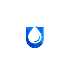 water letter u logo icon design vector image