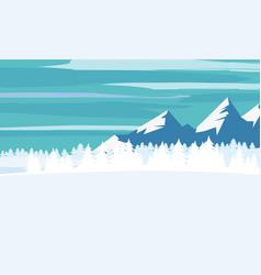 winter landscape cartoon minimal style horizon vector image