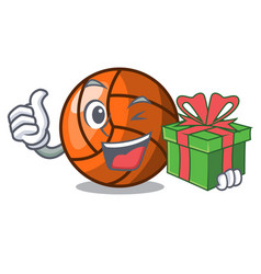 With gift volleyball mascot cartoon style vector