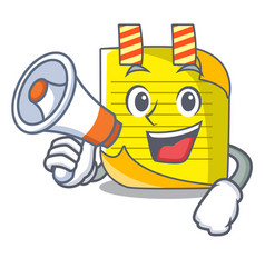 With megaphone note paper character cartoon vector