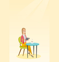 Woman surfing in the social network in the cafe vector