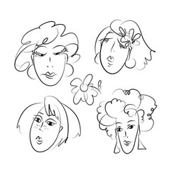 women hand drawn doodles set vector image