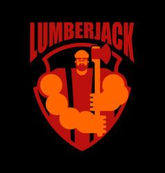 woodcutter logo lumberjack sign lumberman symbol vector image