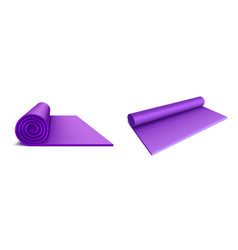 Yoga mat top and side view purple rolled mattress vector