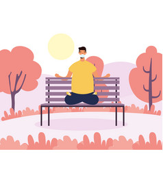 Young man wearing medical mask practicing yoga in vector