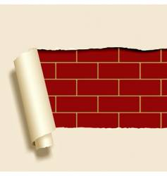 ripped paper on brick wall vector image vector image