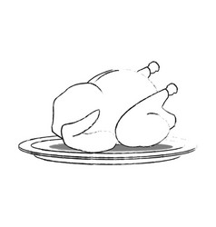 Whole chicken on plate icon image vector