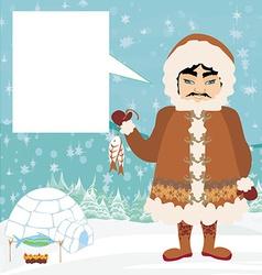 eskimos and fish vector image