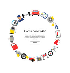 flat style car service elements in circle vector image vector image