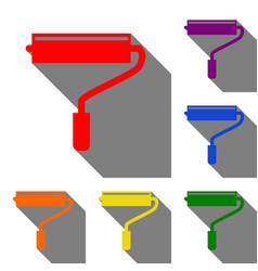 roller sign set of red orange vector image vector image