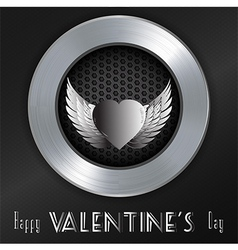 Valentine brushed metallic background with message vector image vector image