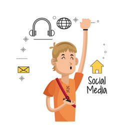young man mobile phone social media icons vector image vector image