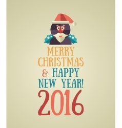 Christmas and Happy New Year 2016 Greeting Card vector image
