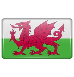 Flags Wales in the form of a magnet on vector image vector image