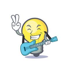 Light bulb character cartoon with guitar vector
