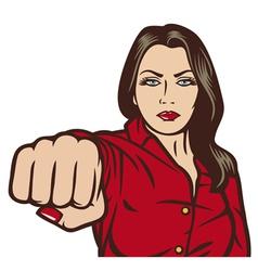 pop art woman punching vector image vector image