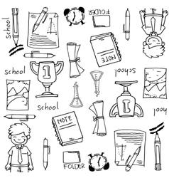 Big doodles element school education vector
