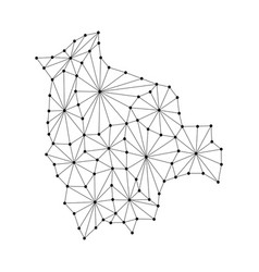 Bolivia map of polygonal mosaic lines network ray vector