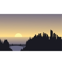 City silhouette on sea vector image