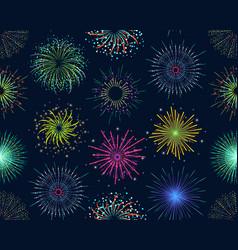 color celebration fireworks background pattern vector image