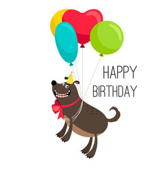 happy birthday dog card vector image vector image