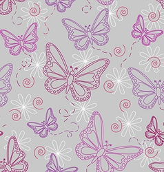 Seamless butterfly pattern in grey vector image vector image