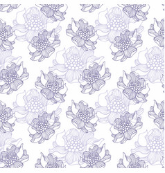 seamless pattern with flowers hand drawing vector image