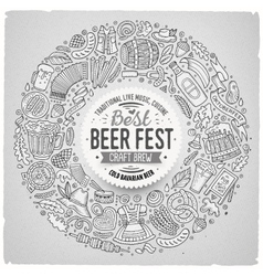 Set of beer fest cartoon doodle objects round vector