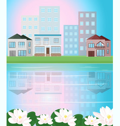 village view with reflection vector image