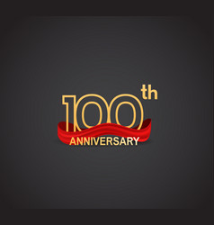 100 anniversary logotype design with line golden vector
