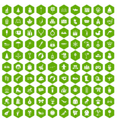 100 children icons hexagon green vector