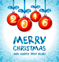 2016 Merry Christmas and Happy New Year vector image