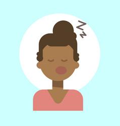 African american female sleeping emotion profile vector