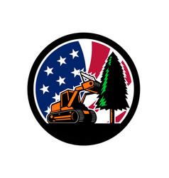 American forestry mulcher usa flag retro vector