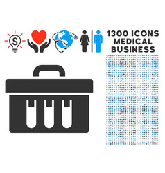 analysis case icon with 1300 medical business vector image