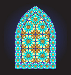 ancient stained glass ornamental window vector image