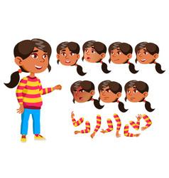 Arab muslim girl child kid teen smile vector