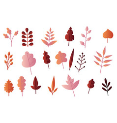 autumn leaves set in flat vector image