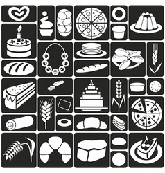 Baking icons on black vector